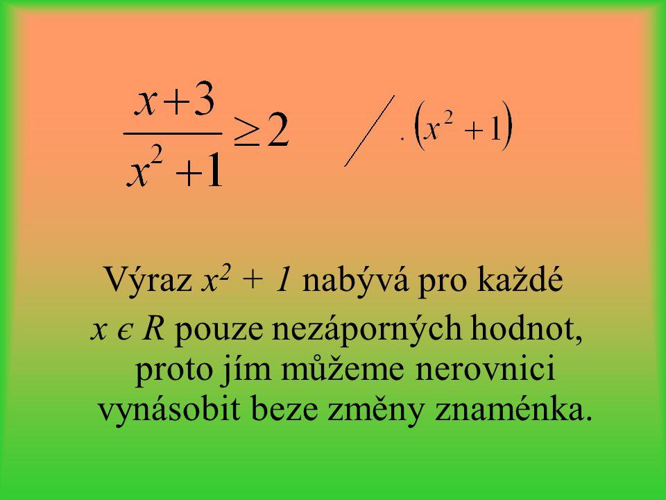 Výraz x2 + 1 nabývá pro každé