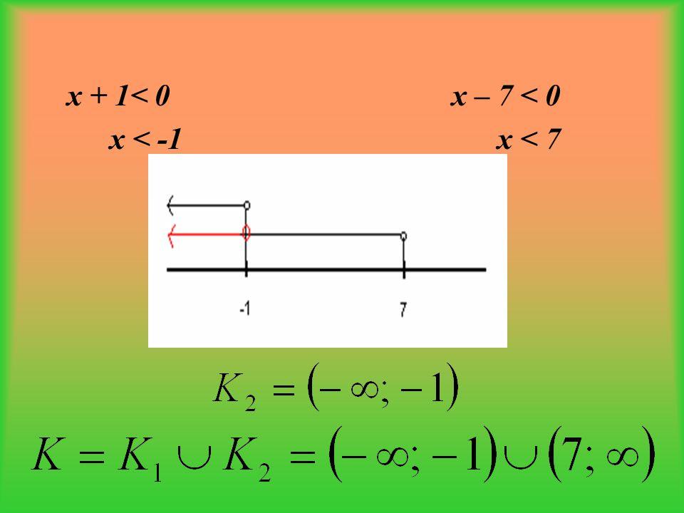 x + 1< 0 x – 7 < 0 x < -1 x < 7
