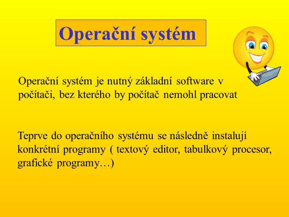 Operační systém Operační systém je nutný základní software v počítači, bez kterého by počítač nemohl pracovat.