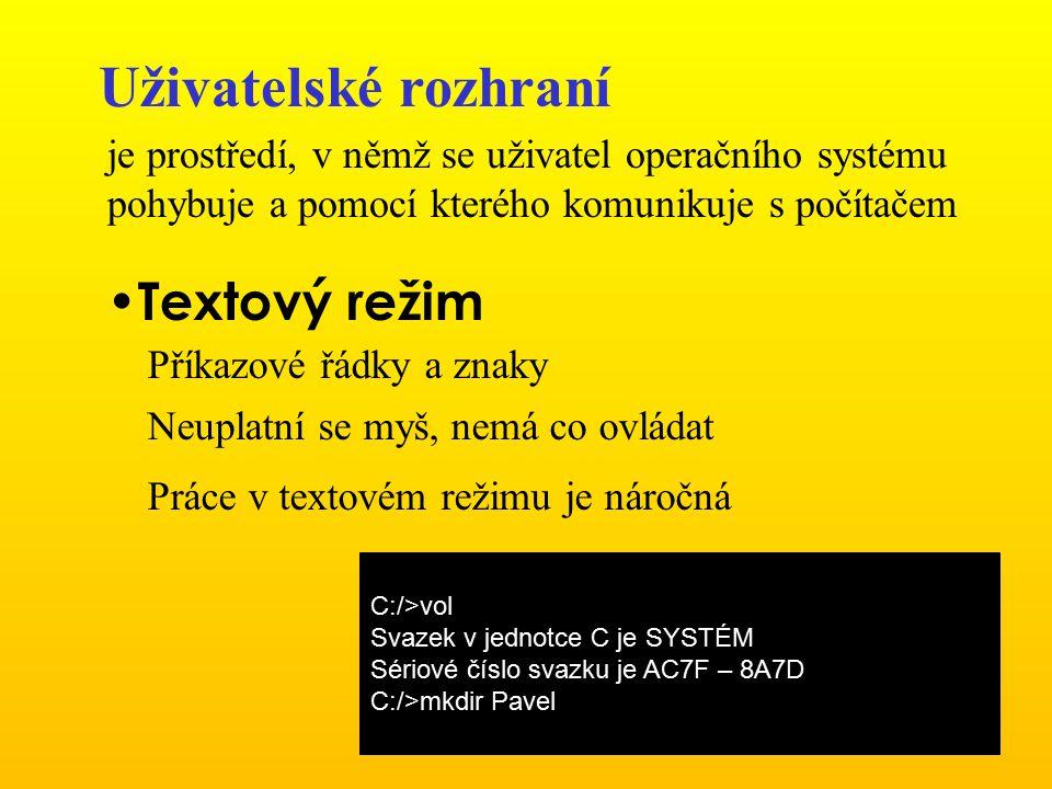 Uživatelské rozhraní Textový režim