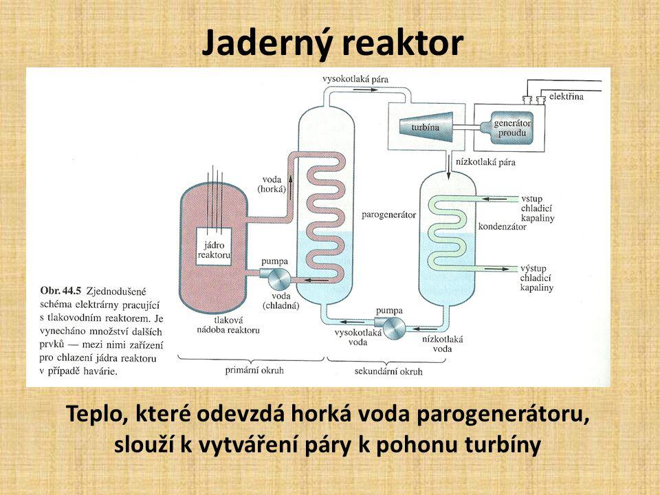 Jaderný reaktor Teplo, které odevzdá horká voda parogenerátoru, slouží k vytváření páry k pohonu turbíny.