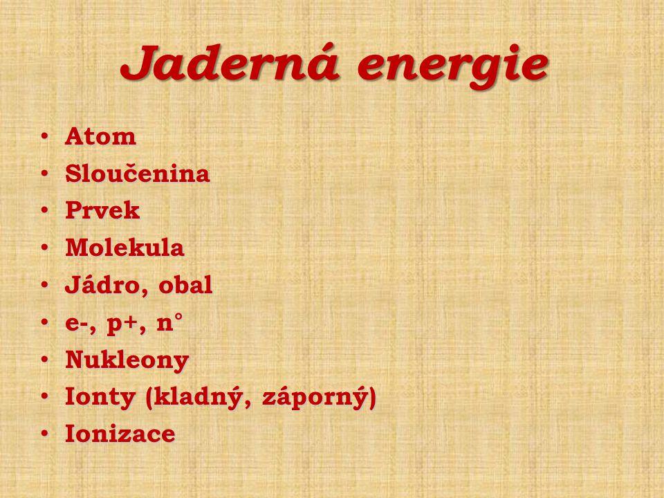 Jaderná energie Atom Sloučenina Prvek Molekula Jádro, obal e-, p+, n°