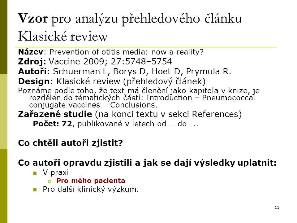 Vzor pro analýzu přehledového článku Klasické review