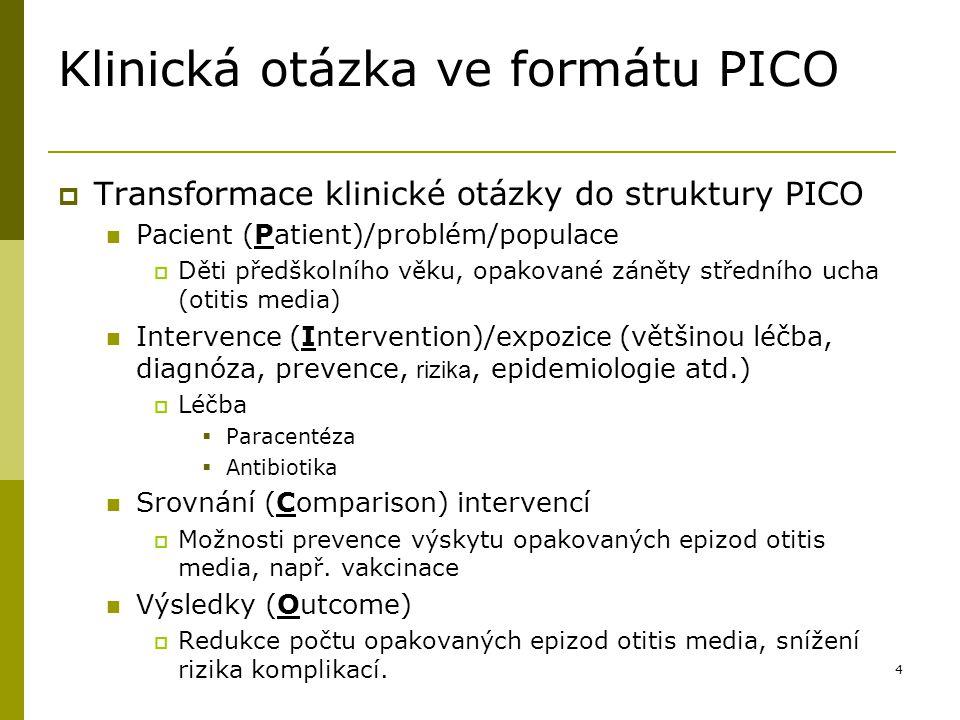 Klinická otázka ve formátu PICO
