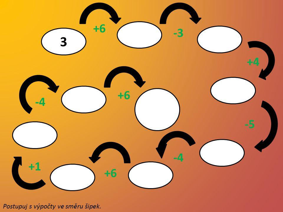 9 6 10 +6 -3 3 5 1 7 +4 8 4 +6 10 -4 -5 -4 +1 +6 Postupuj s výpočty ve směru šipek.