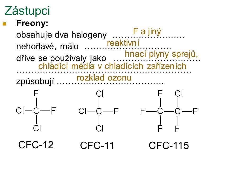 Zástupci CFC-12 CFC-11 CFC-115 Freony: obsahuje dva halogeny …………………….