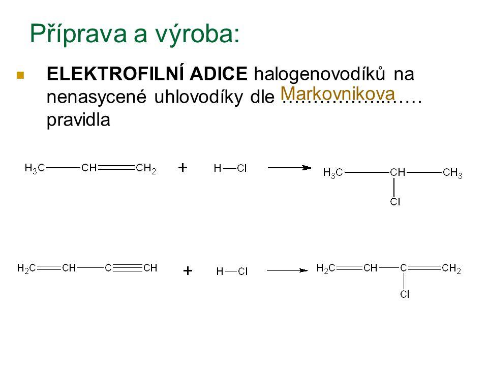 Příprava a výroba: ELEKTROFILNÍ ADICE halogenovodíků na nenasycené uhlovodíky dle ……………..…… pravidla.