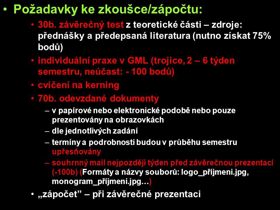 Požadavky ke zkoušce/zápočtu: