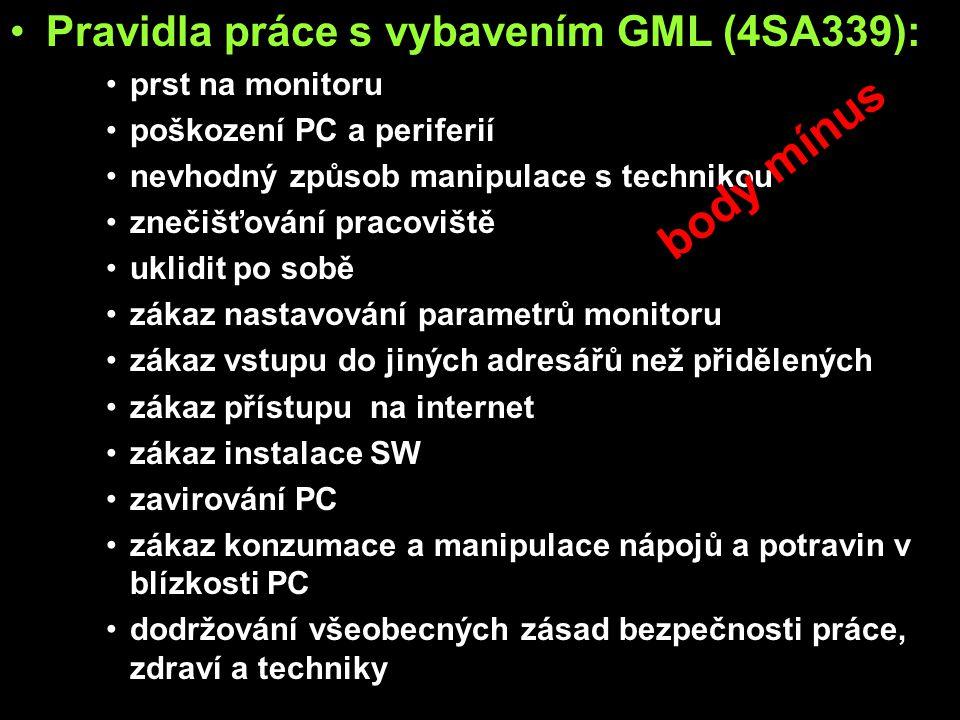 body mínus Pravidla práce s vybavením GML (4SA339): prst na monitoru