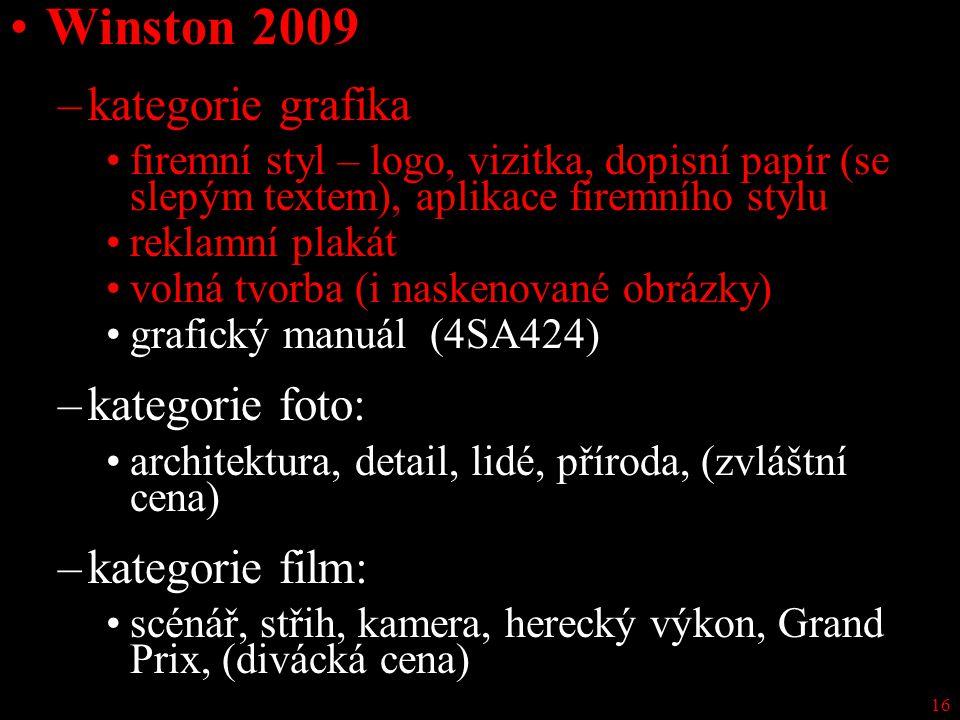 Winston 2009 kategorie grafika kategorie foto: kategorie film: