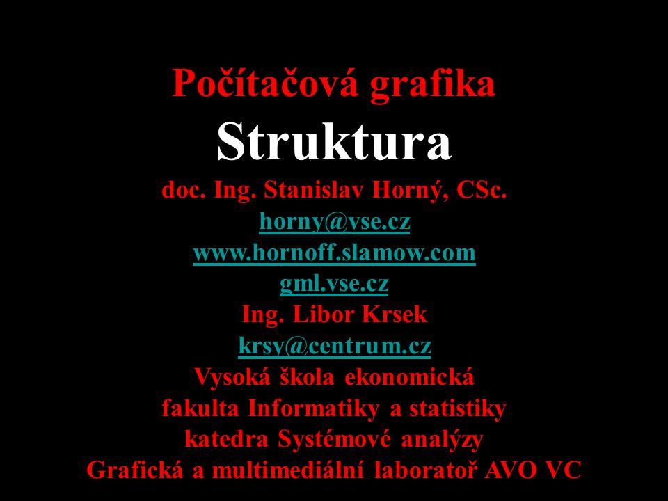 Struktura Počítačová grafika 4SA339 doc. Ing. Stanislav Horný, CSc.