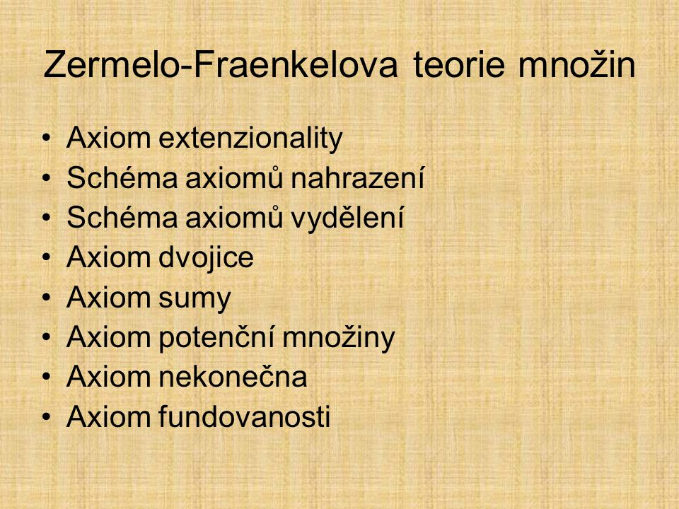 Zermelo-Fraenkelova teorie množin