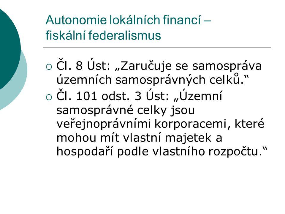 Autonomie lokálních financí – fiskální federalismus