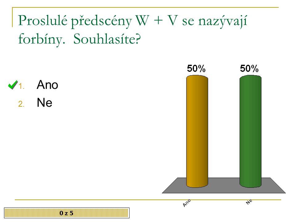 Proslulé předscény W + V se nazývají forbíny. Souhlasíte