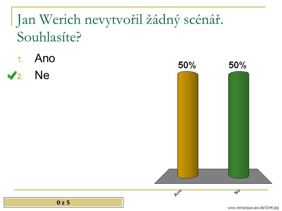 Jan Werich nevytvořil žádný scénář. Souhlasíte