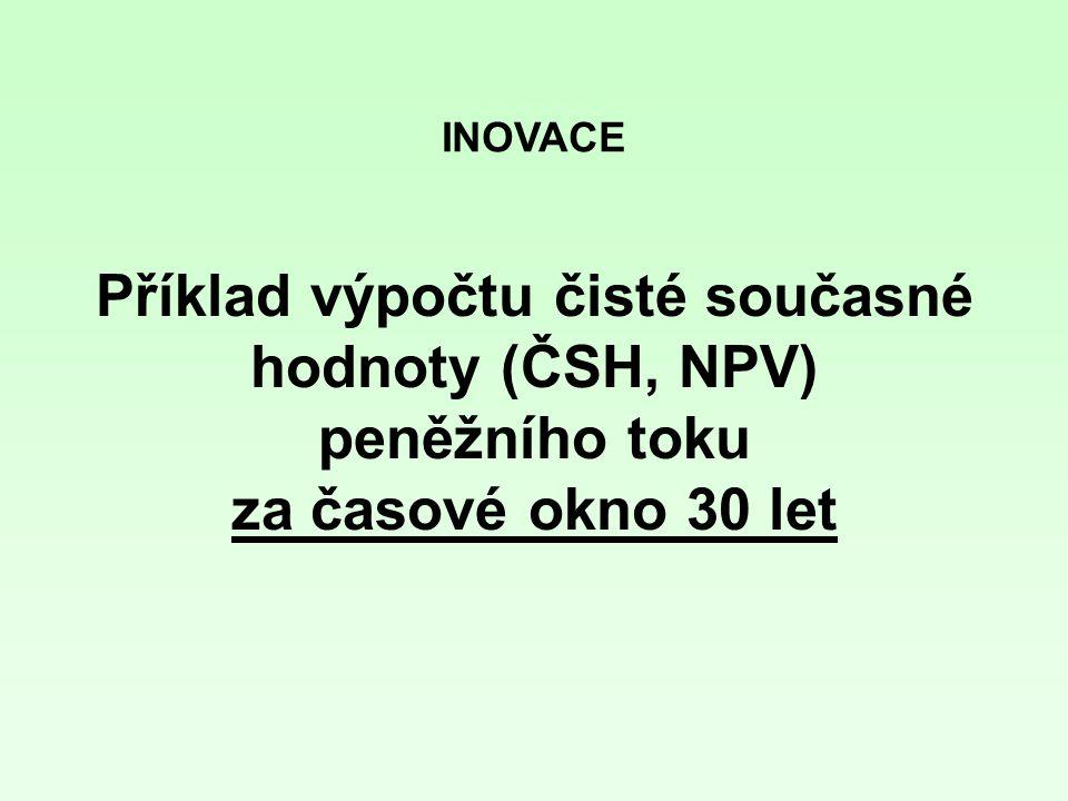 INOVACE Příklad výpočtu čisté současné hodnoty (ČSH, NPV) peněžního toku za časové okno 30 let
