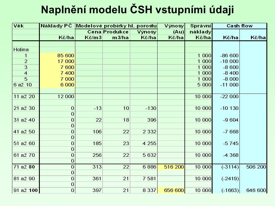 Naplnění modelu ČSH vstupními údaji