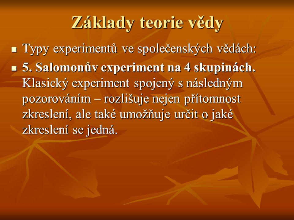 Základy teorie vědy Typy experimentů ve společenských vědách: