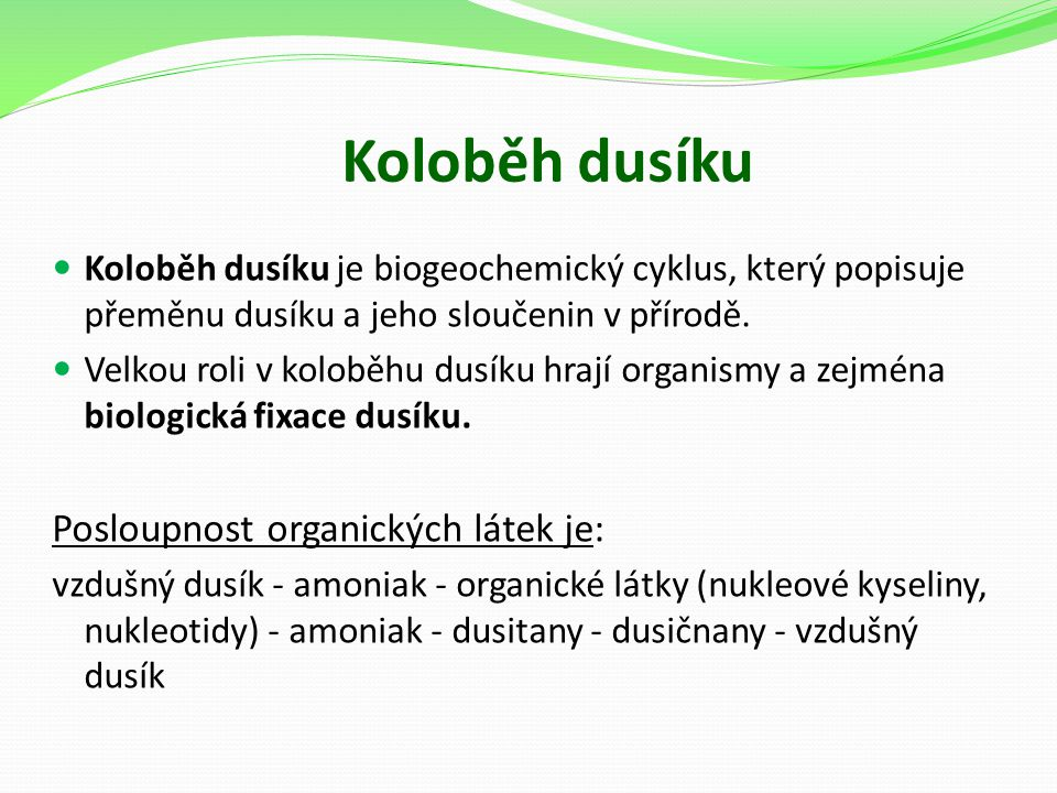 Koloběh dusíku Posloupnost organických látek je: