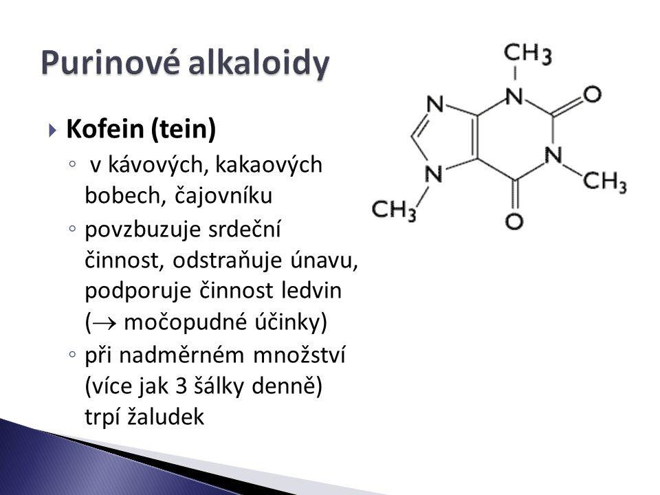 Purinové alkaloidy Kofein (tein)