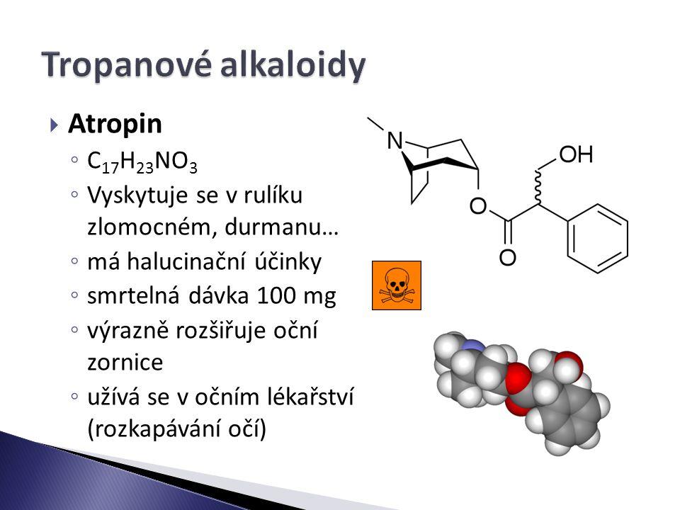 Tropanové alkaloidy Atropin C17H23NO3
