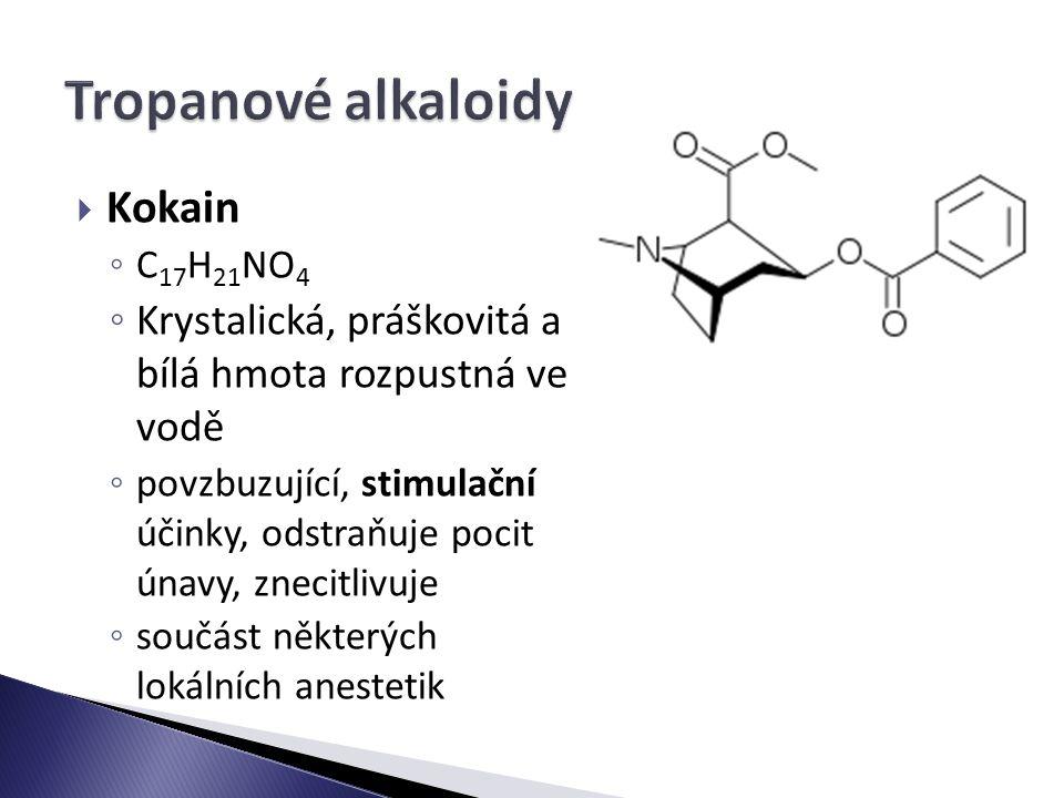 Tropanové alkaloidy Kokain