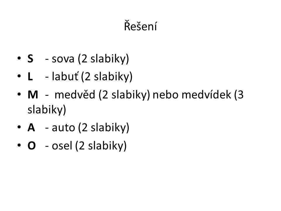 Řešení S - sova (2 slabiky) L - labuť (2 slabiky) M - medvěd (2 slabiky) nebo medvídek (3 slabiky)