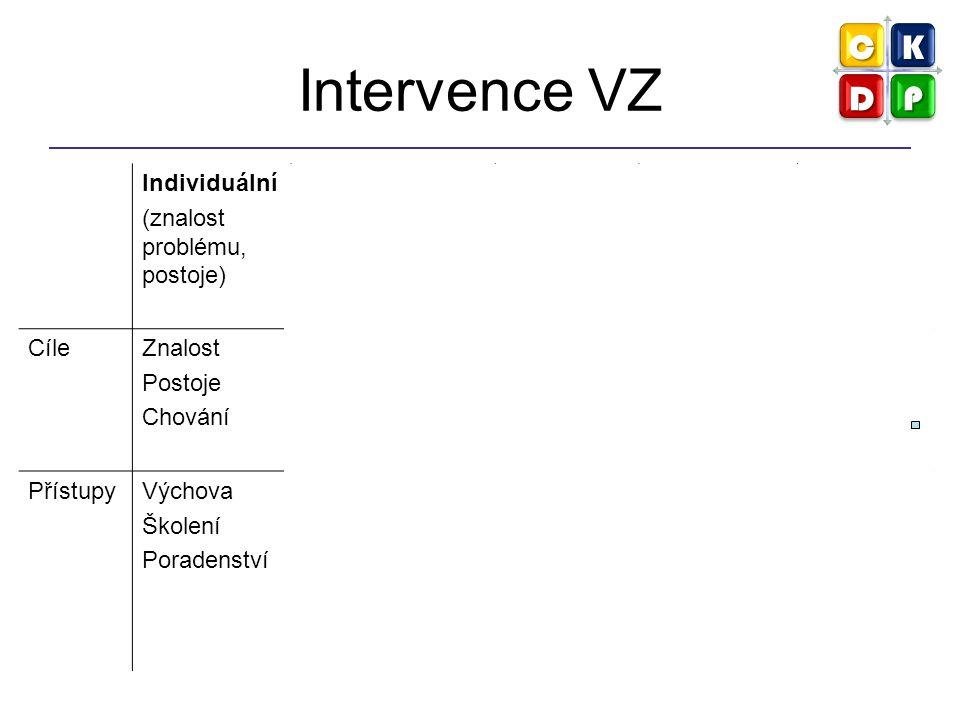 Intervence VZ Individuální (znalost problému, postoje) Interpersonální