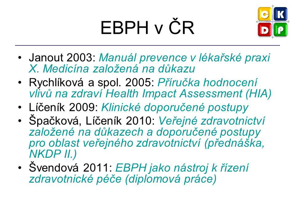 EBPH v ČR Janout 2003: Manuál prevence v lékařské praxi X. Medicína založená na důkazu.