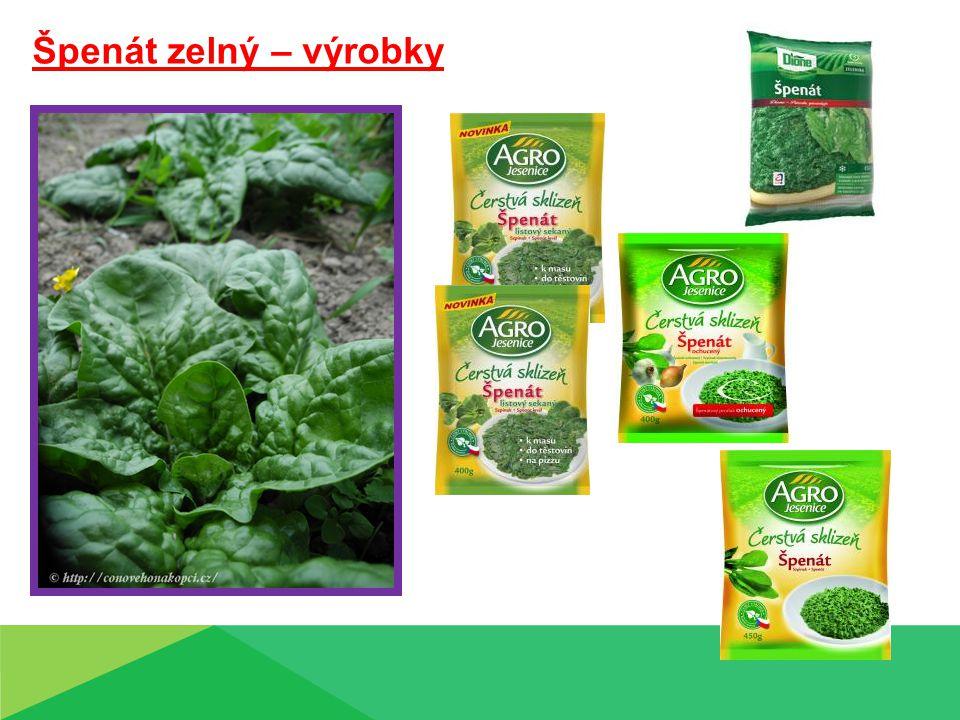 Špenát zelný – výrobky Špenát zelný – výrobky