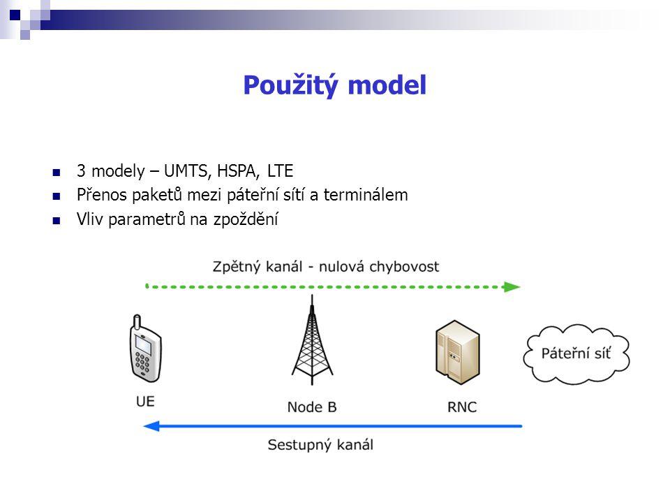 Použitý model 3 modely – UMTS, HSPA, LTE
