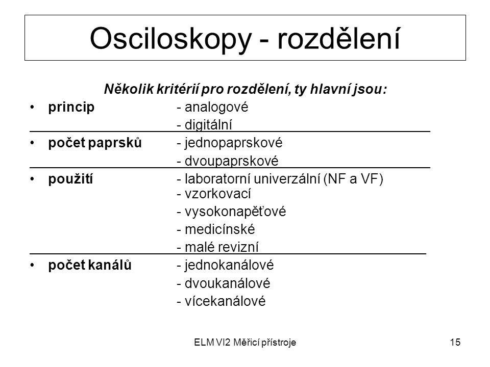 Osciloskopy - rozdělení