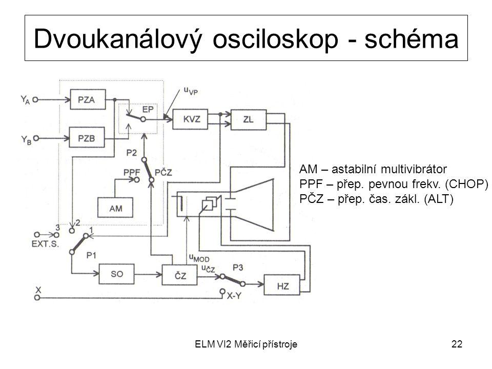 Dvoukanálový osciloskop - schéma