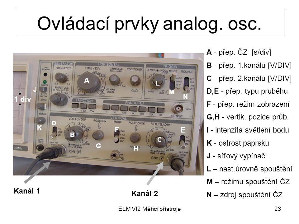 Ovládací prvky analog. osc.