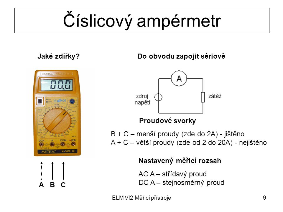 ELM VI2 Měřicí přístroje