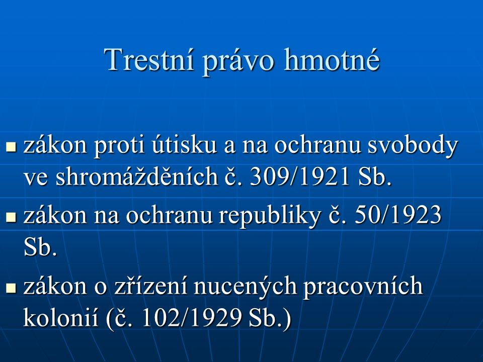 Trestní právo hmotné zákon proti útisku a na ochranu svobody ve shromážděních č. 309/1921 Sb. zákon na ochranu republiky č. 50/1923 Sb.