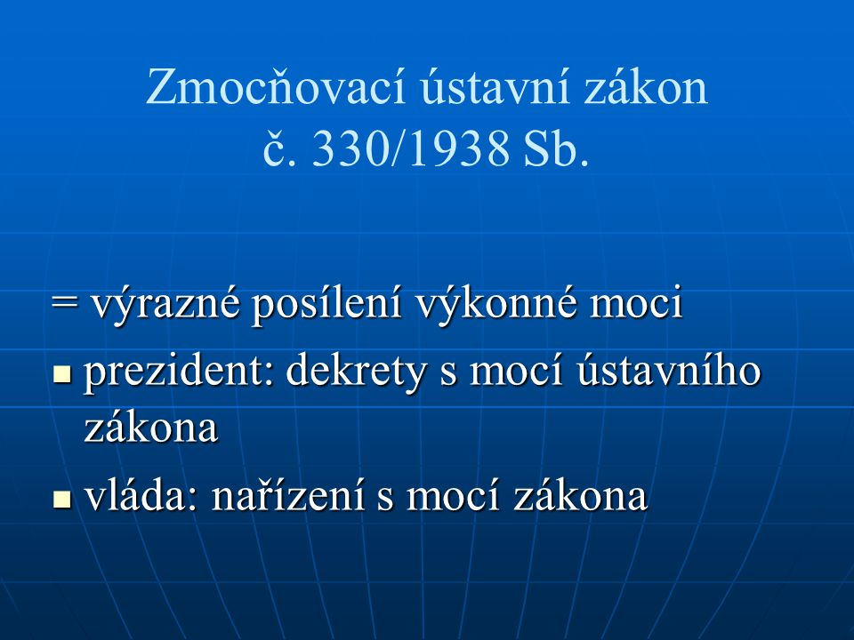 Zmocňovací ústavní zákon č. 330/1938 Sb.