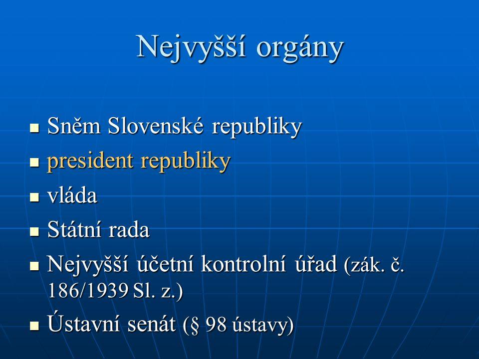 Nejvyšší orgány Sněm Slovenské republiky president republiky vláda