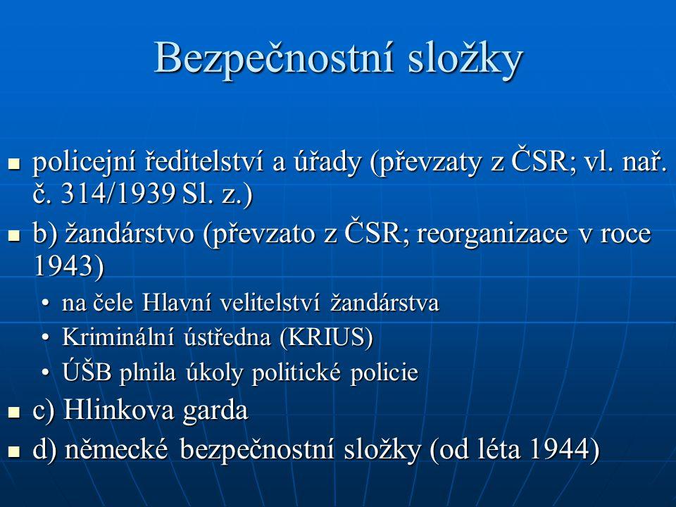 Bezpečnostní složky policejní ředitelství a úřady (převzaty z ČSR; vl. nař. č. 314/1939 Sl. z.)