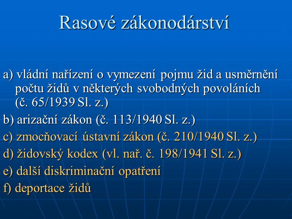 Rasové zákonodárství a) vládní nařízení o vymezení pojmu žid a usměrnění počtu židů v některých svobodných povoláních (č. 65/1939 Sl. z.)