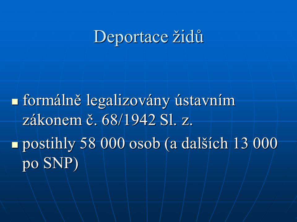 Deportace židů formálně legalizovány ústavním zákonem č. 68/1942 Sl.
