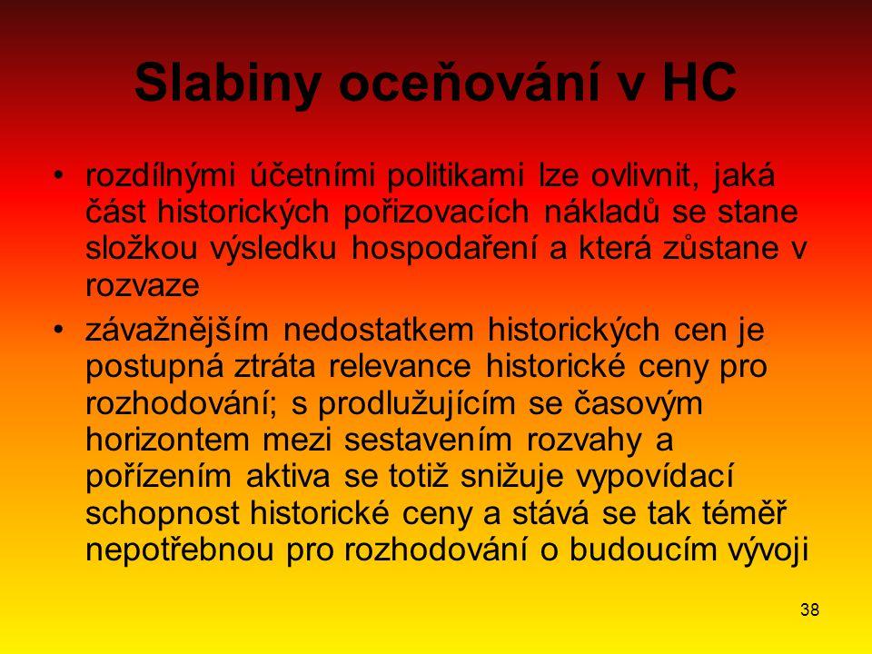 Slabiny oceňování v HC