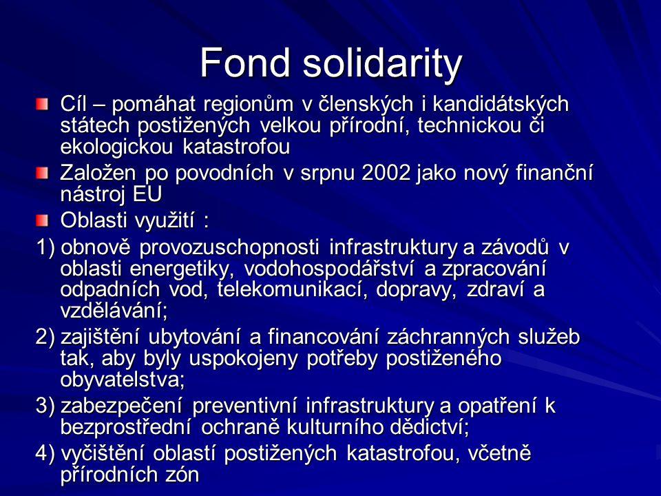 Fond solidarity Cíl – pomáhat regionům v členských i kandidátských státech postižených velkou přírodní, technickou či ekologickou katastrofou.