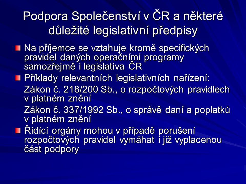 Podpora Společenství v ČR a některé důležité legislativní předpisy
