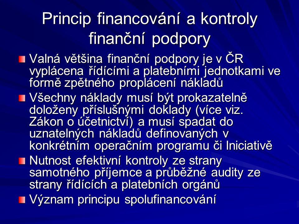 Princip financování a kontroly finanční podpory