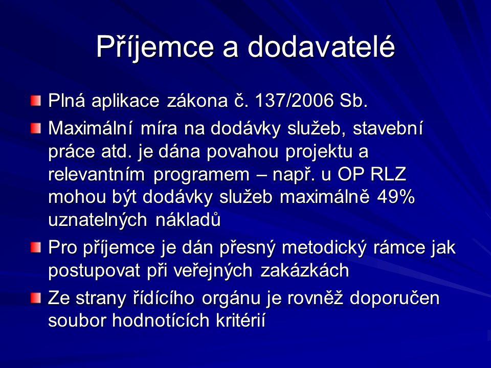 Příjemce a dodavatelé Plná aplikace zákona č. 137/2006 Sb.