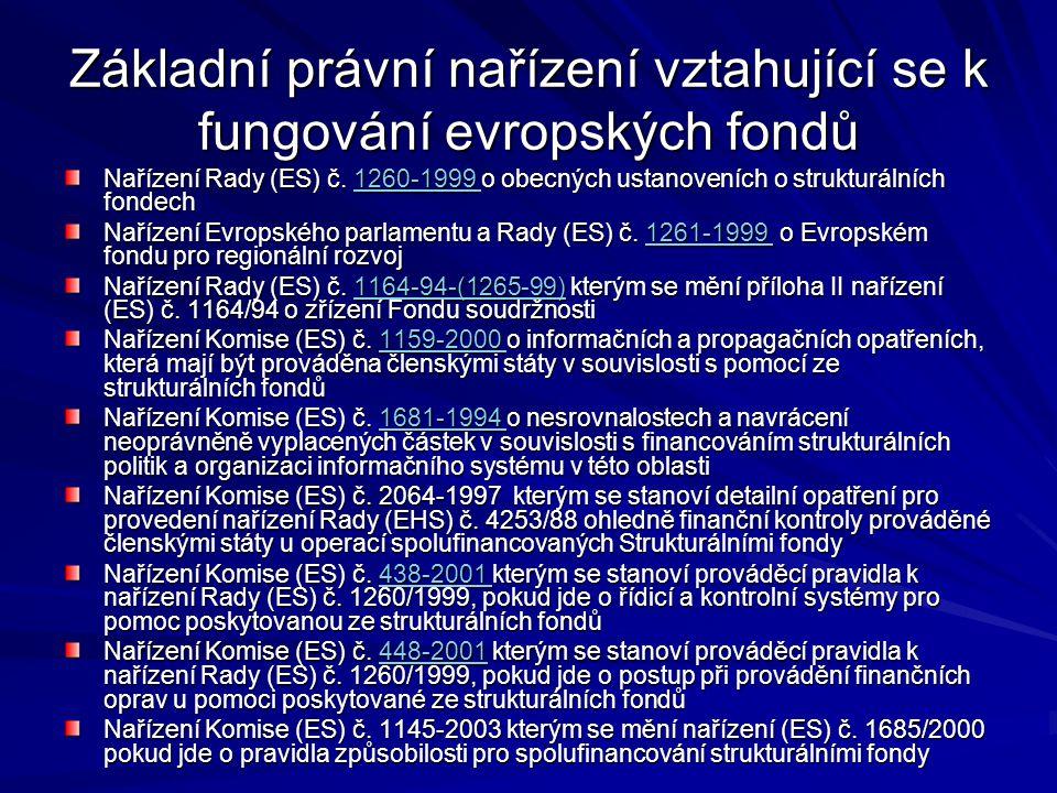 Základní právní nařízení vztahující se k fungování evropských fondů