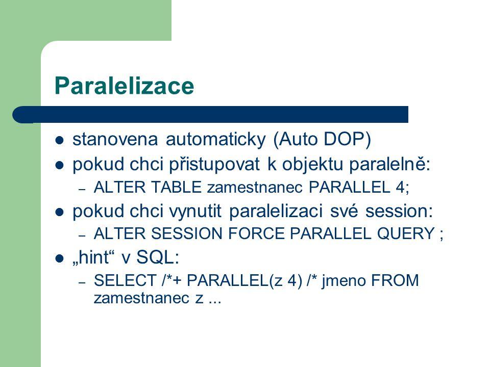 Paralelizace stanovena automaticky (Auto DOP)