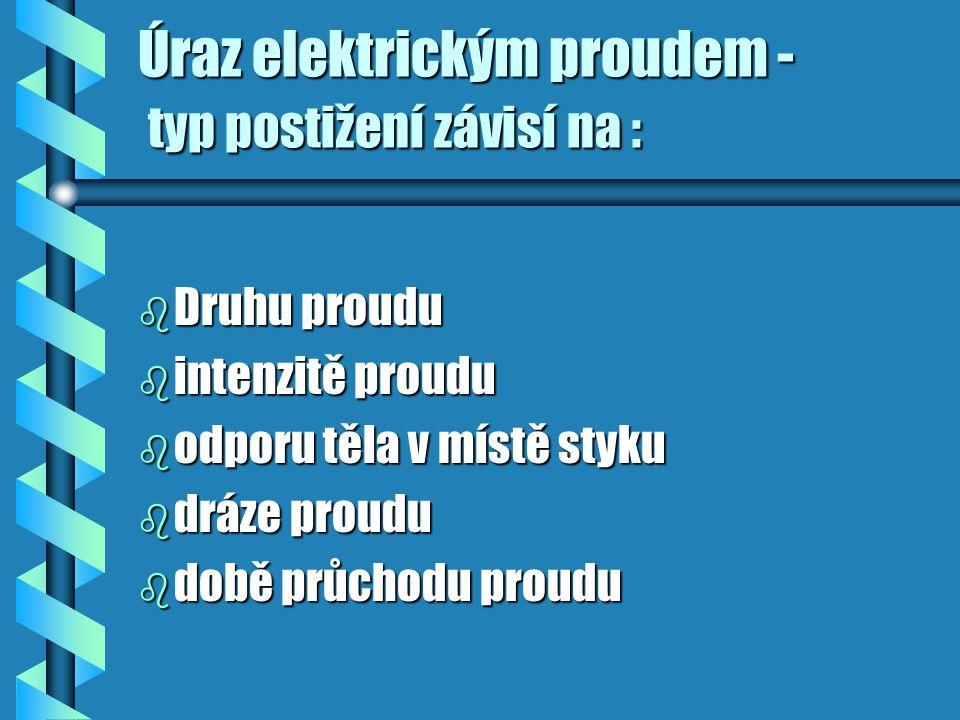 Úraz elektrickým proudem - typ postižení závisí na :