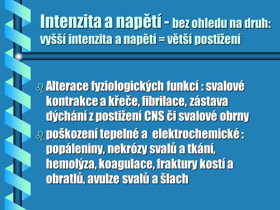 Intenzita a napětí - bez ohledu na druh: vyšší intenzita a napětí = větší postižení